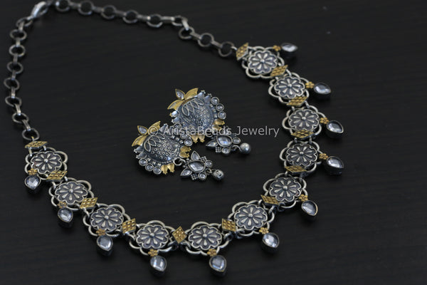 Clear CZ Dual Tone Necklace Set
