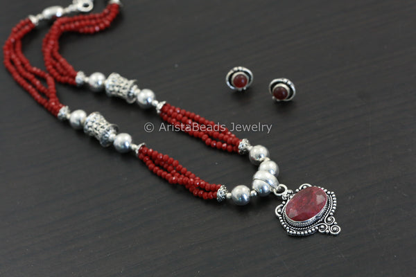 Red Oxidized Necklace Set