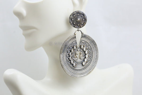 Large Silver Look Earrings -Clear