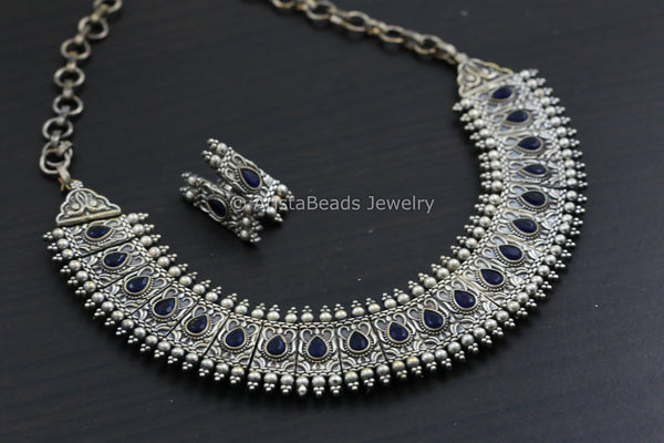 Silver Look Blue Necklace Set