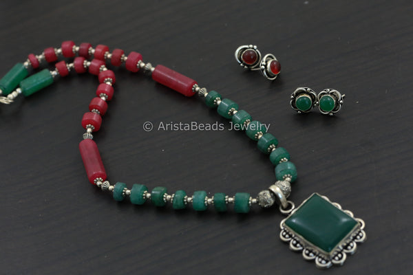 Red Green Oxidized Necklace Set