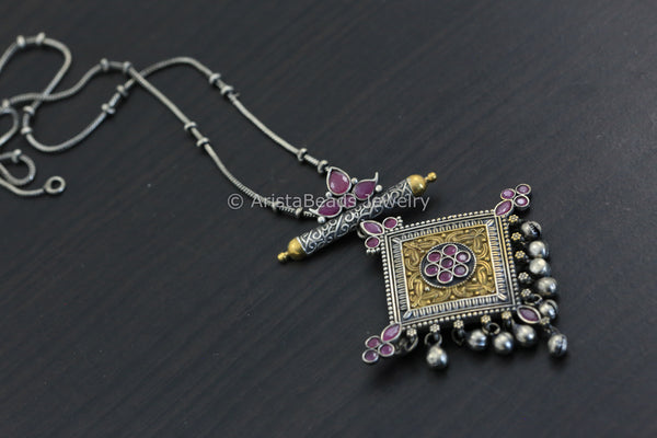 Reserved for Archana >Dual Tone Pendant Chain Necklace