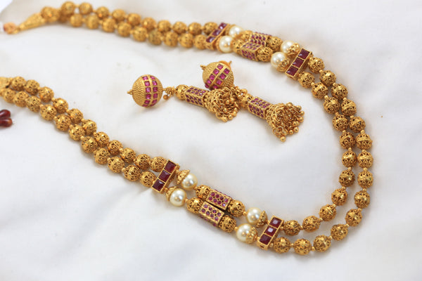 Gold Ruby Beaded Chain Set