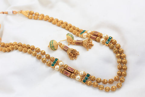 Gold Ruby Emerald Beaded Chain Set