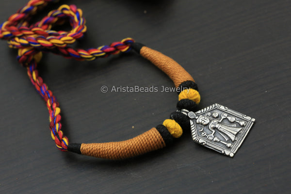 Silver Look Mustard Thread Necklace