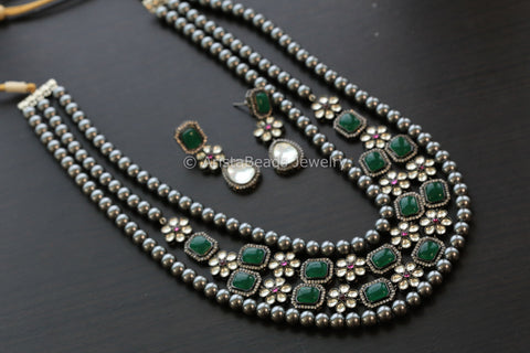 Layered Victorian Style Kundan Necklace Set