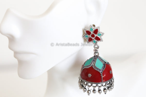 Red Blue Enamel Jhumka