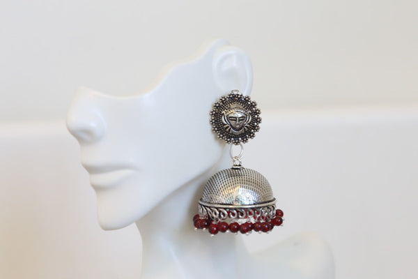 Oxidized Jhumka - Dark Red