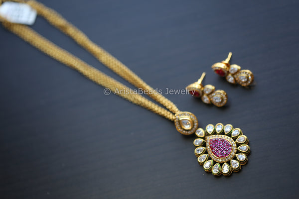 Rajwadi Ruby Polki Antique Necklace Set