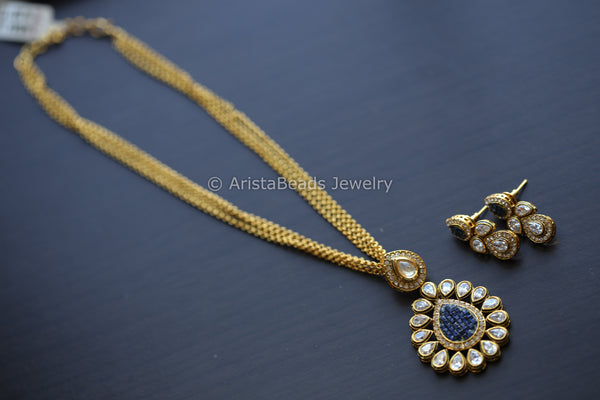 Rajwadi Blue Polki Antique Necklace Set