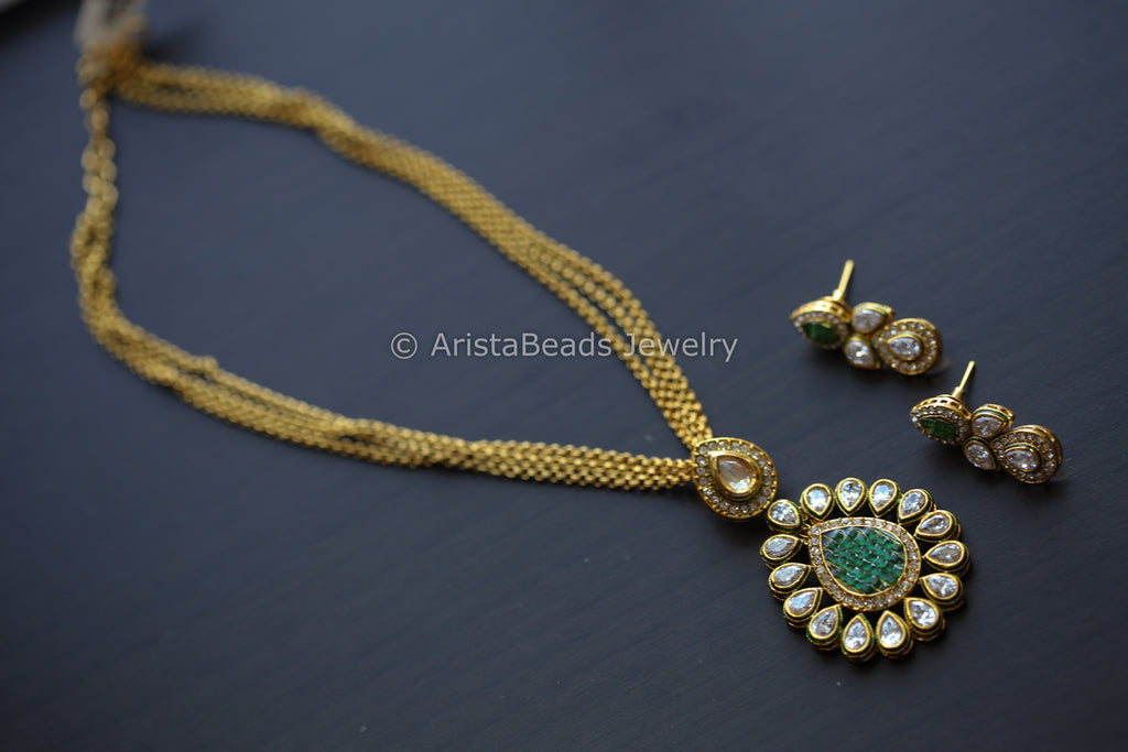 Rajwadi Green Polki Antique Necklace Set