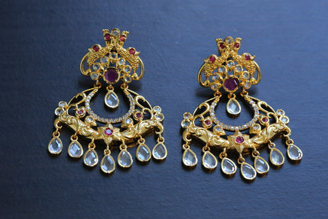 Ruby Earrings with Polki Drops