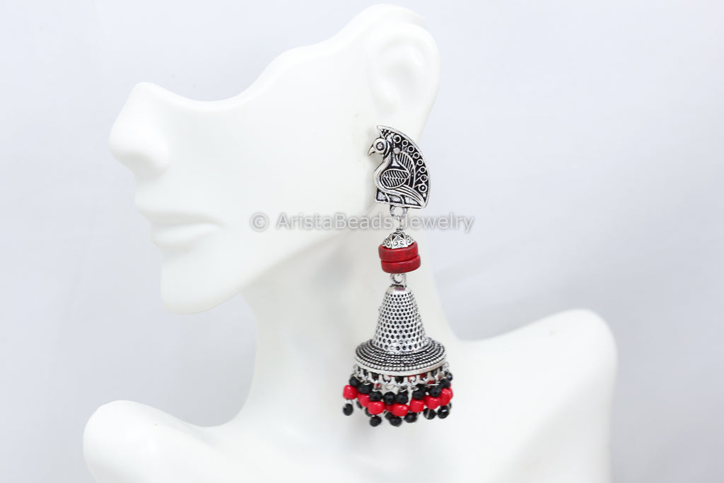 Red Beaded Peacock Jhumka