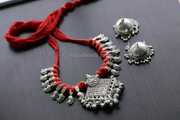 Red Tribal Ghungroo Pendant Necklace