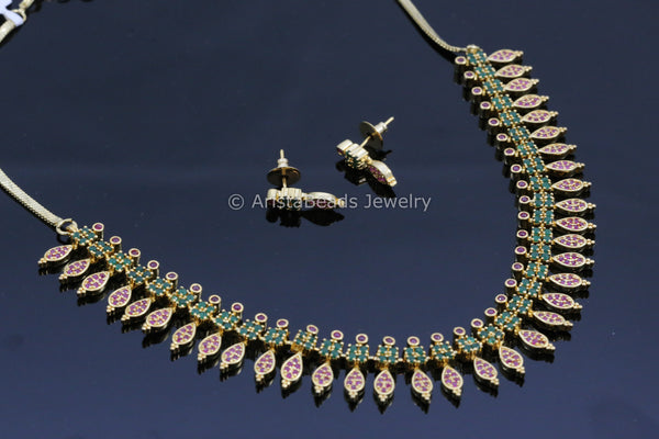 Ruby Emerald Gold Necklace Set