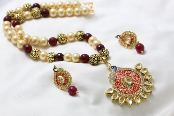 Red Enamel Kundan Pearl Necklace