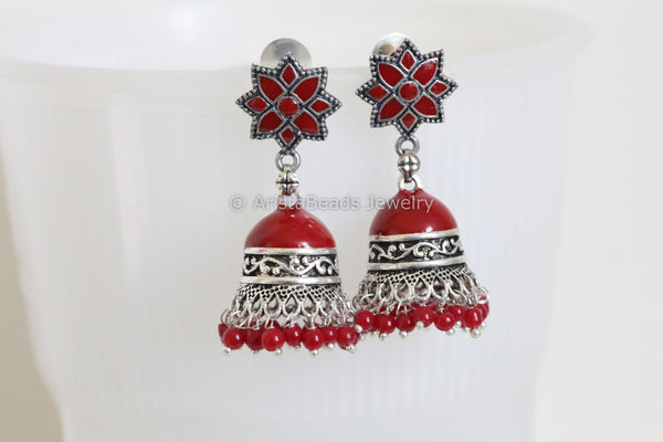 Red Enamel Jhumka Earring