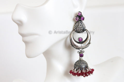 925 Sterling Silver Ruby Jhumka