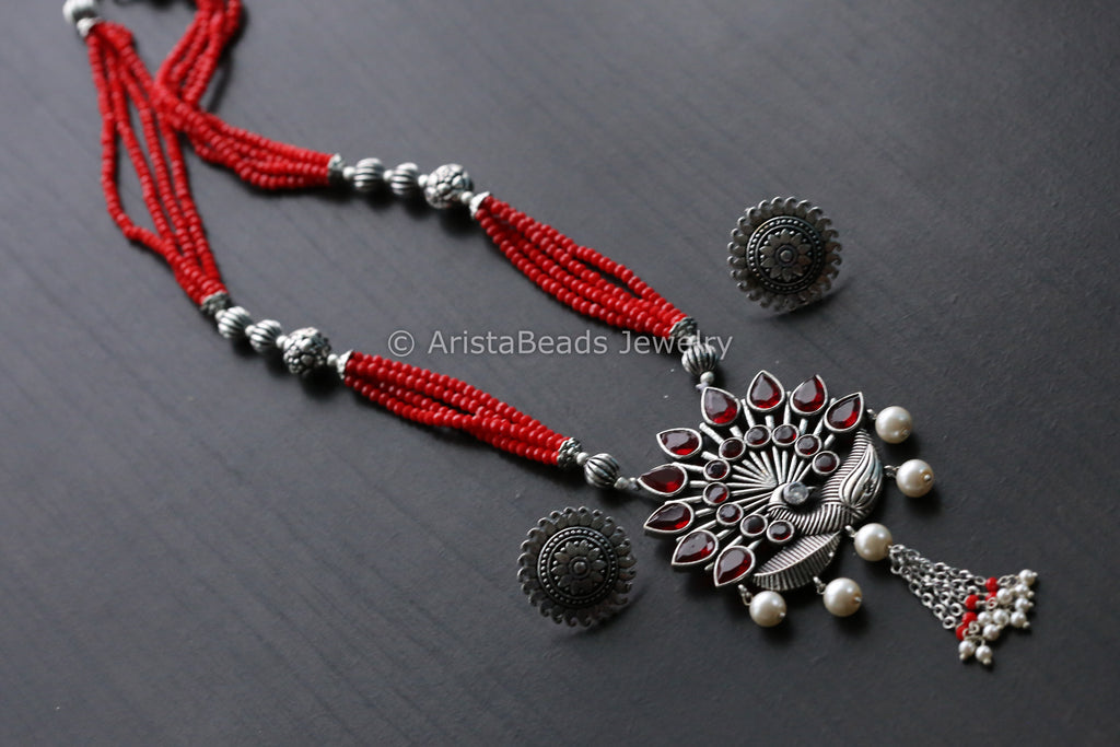 Tribal Red Beaded Peacock Necklace