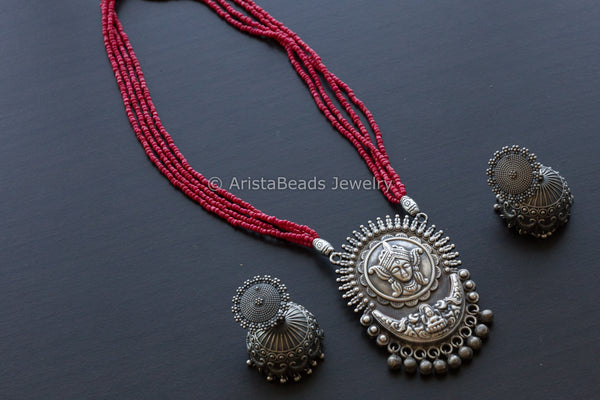 Red Durga Oxidized Necklace