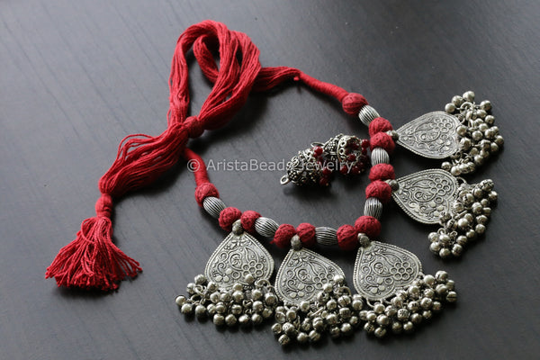 Tribal Red Thread Oxidized Necklace