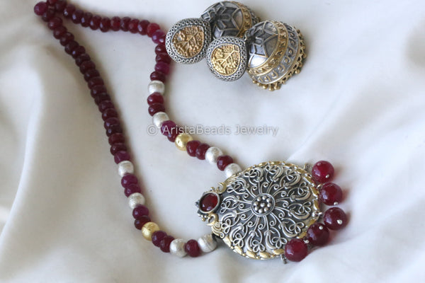 Ruby  Dual Tone Necklace  Set