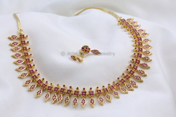 Delicate Ruby Gold Necklace Set