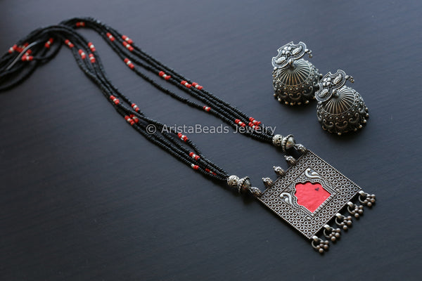 Silver Tone Red Jharoka Necklace