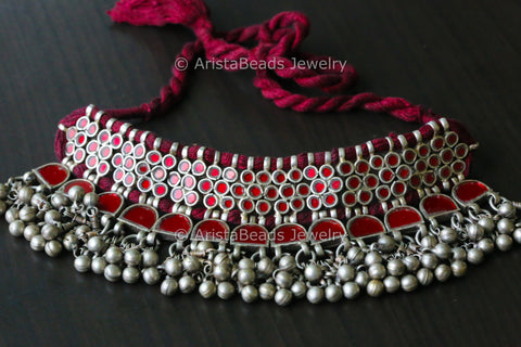 Red Glass Afghan Necklace