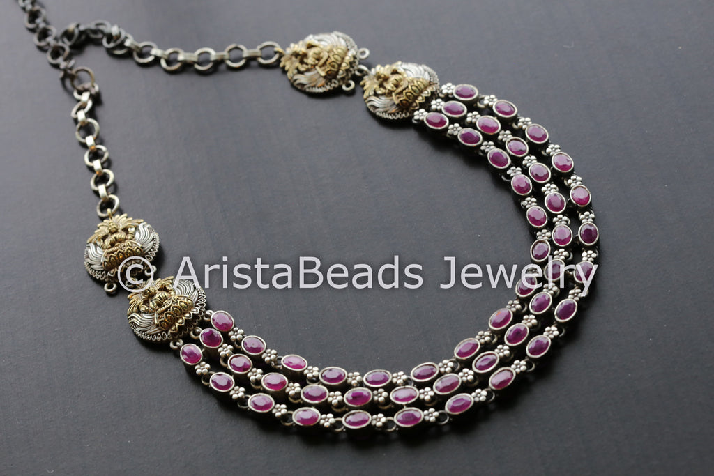 Ruby Stones Dual Tone Necklace