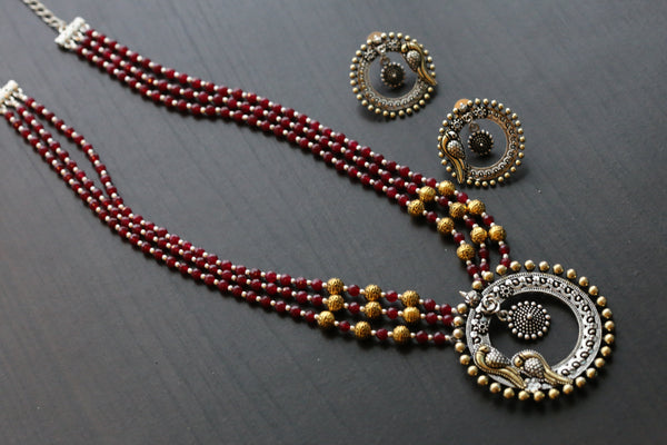 Red Beaded Peacock Necklace Set