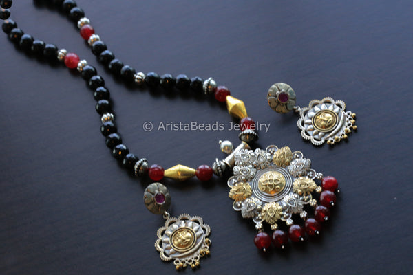 Dual Tone Ruby Black Tribal Necklace