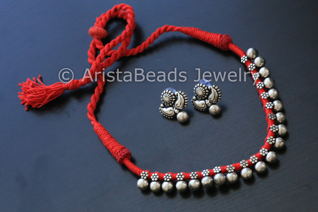 Silver Beaded Choker Necklace - Red - AristaBeads Jewelry - 1