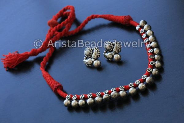 Silver Beaded Choker Necklace - Red - AristaBeads Jewelry - 2