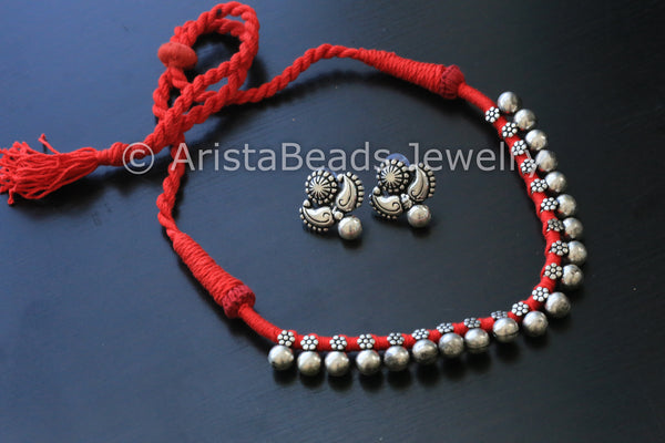 Silver Beaded Choker Necklace - Red - AristaBeads Jewelry - 5