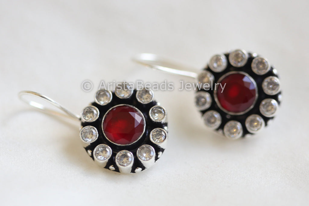 Silver Plated Red CZ Drops