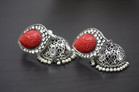 Contemporary Red Oxidized Kundan Jhumka