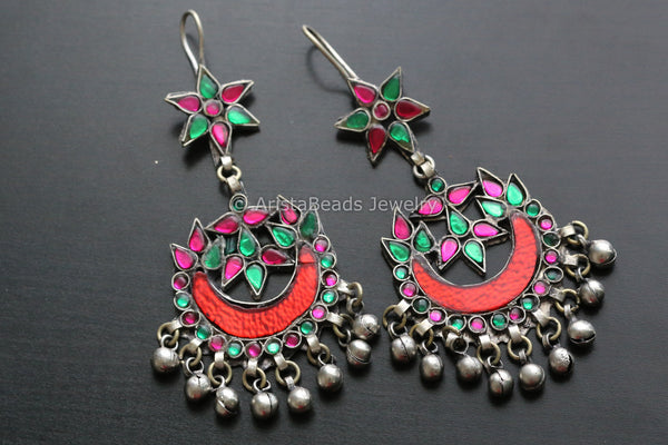 Antique Glass Afghan Earrings