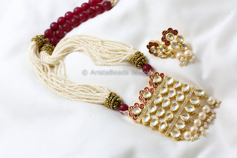 Ruby Red Kundan Tanmani Necklace