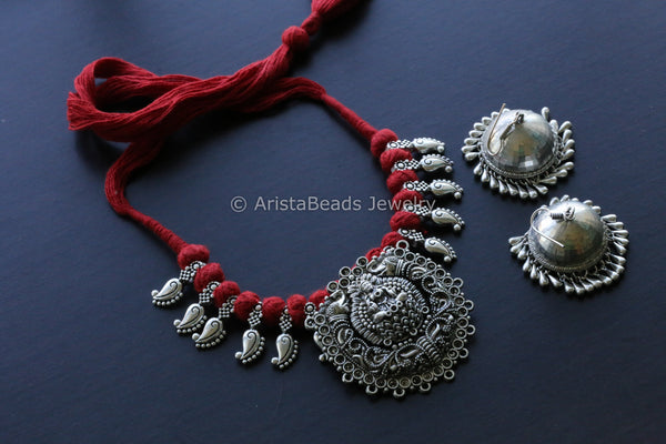 Red Thread Oxidized Lakshmi Necklace