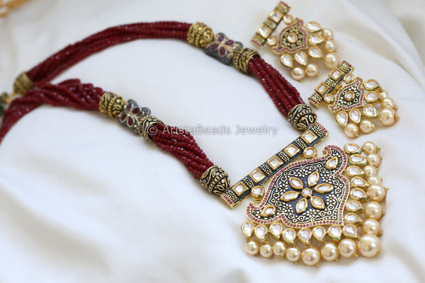 Kundan Enamel Jadau Necklace - Red