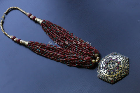Multi strand Red Tibetan Necklace