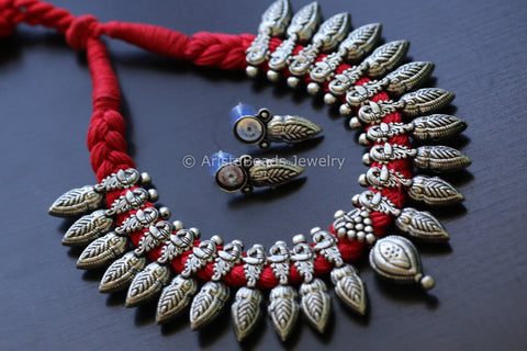 Red Thread Peacock Motif Necklace