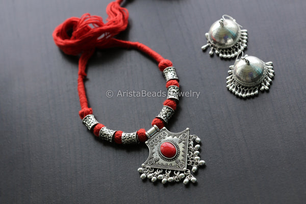 Red Coral Tribal  Necklace