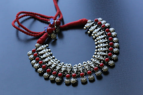 Red Peacock Motif Necklace