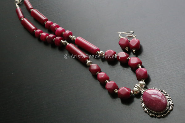Ruby Jade Tribal Necklace