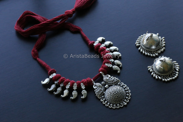 Red Thread Oxidized Tribal Necklace