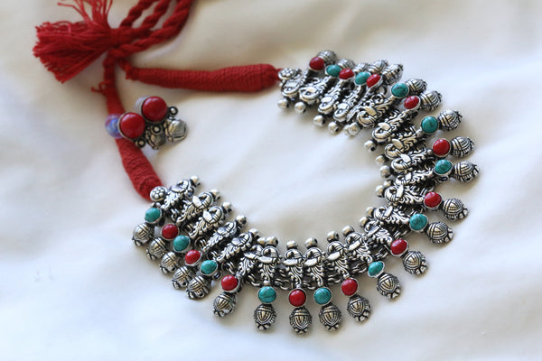 Red Turquoise  Peacock Motif Necklace