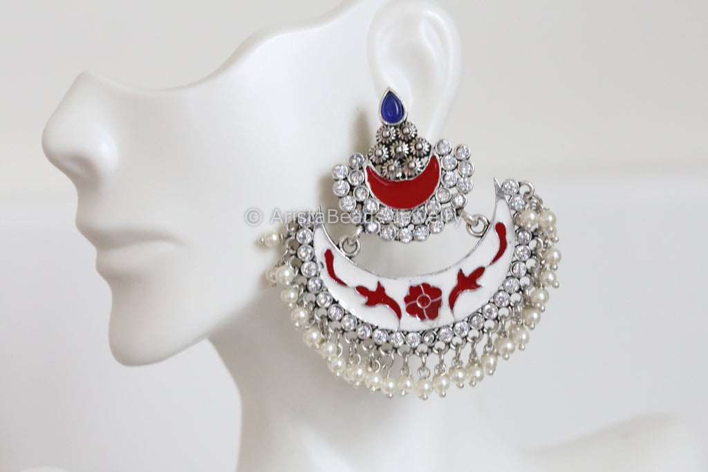 Enamel Chandbaali -White Red