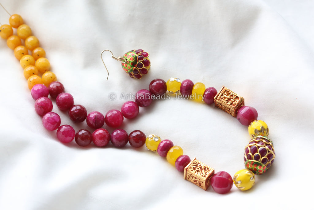 Ruby Yellow Jadau Mala